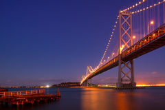 Bay Bridge at night. Suspension bridge lit up at night, Bay Bridge, San Francisco Bay, San Francisco, California, USA Stock Image