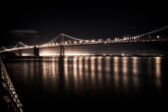 Bay Bridge at night. Suspension bridge lit up at night, Bay Bridge, San Francisco Bay, San Francisco, California, USA Stock Photos