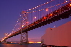 Bay Bridge at night Royalty Free Stock Photos