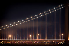 Bay bridge at night. Suspension bridge lit up at night, Bay Bridge, San Francisco Bay, San Francisco, California, USA Royalty Free Stock Photos