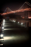 Bay Bridge at night. Suspension bridge lit up at night, Bay Bridge, San Francisco Bay, San Francisco, California, USA Royalty Free Stock Photography