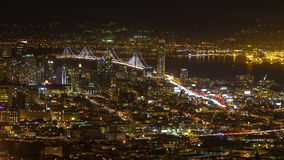 Bay bridge night traffic stock footage