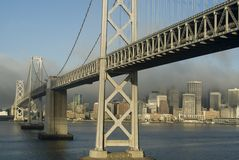 Bay Bridge Oakland. Ships View of the Bay Bridge between Treasure Island and San Fransisco Stock Images