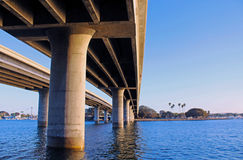 Bay bridge. A perspective view of a bay bridge in mission bay park of San Diego Stock Photo