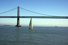 Bay Bridge & Sailboat Stock Photo