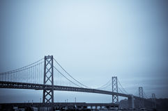 The Bay Bridge, San Francisco. Finished in a Blue Duotone Stock Photos