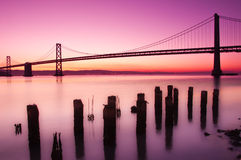 Bay Bridge, San Francisco, California. The Bay Bridge in San Francisco silhouetted against a clear sky just before sunrise Royalty Free Stock Photos