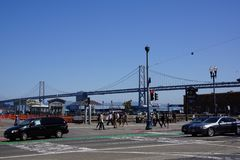 Bay bridge in san francisco royalty free stock photo