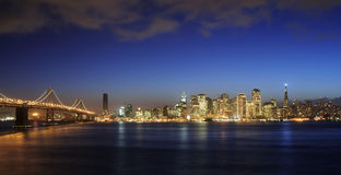 Bay Bridge and San Francisco Downtown at Christmas Stock Photo