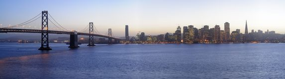Bay Bridge and San Francisco Downtown, Sunset Royalty Free Stock Images