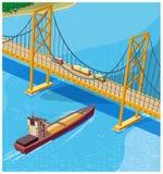 Bay Bridge. Stylized vector composition of a bridge across the bay. trade routes vector illustration
