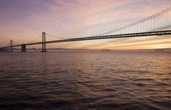Bay Bridge Sunrise. View of the Bay Bridge at sunrise in San Francisco Royalty Free Stock Photo