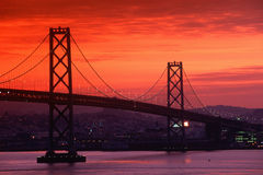 Bay Bridge at sunset, San Francisco, CA Royalty Free Stock Photography