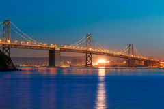 Bay Bridge at sunset in San Francisco California Royalty Free Stock Image