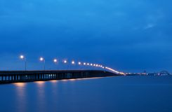 Bay Bridge to Ocean City Maryland. Rout 90 Bay Bridge leading to Ocean City, Maryland at night stock photos