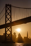 Bay Bridge Tower and San Francisco Skyline at sunset Royalty Free Stock Images