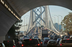 Bay Bridge traffic jam. Massive traffic jam In the early morning on the Bay Bridge, at the exit of a tunnel. It is the main connection between the cities of royalty free stock image
