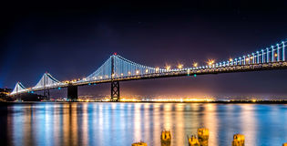 The Bay Bridge2. Was shot in San Francisco facing Oakland, California.  I uses a long exposure to smooth out the water Royalty Free Stock Photos