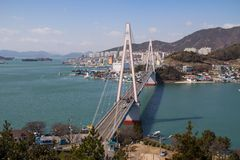 Bay bridge in Yeosu. Bay bridge in Korean city Yeosu Stock Images