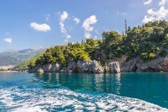 Bay of Budva. Cape Zavala rocks in Budva town, Montenegro Stock Image
