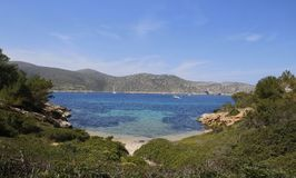 The bay of Cabrera in the Mediterranean. Main view on the bay in Cabrera, the minor of the balearic islands located south of the coast of the island of Mallorca stock photos