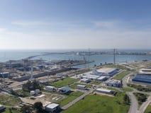 Bay of cadiz and shipyard Stock Image
