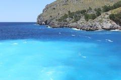 Blue lagoon of the Mediterranean Sea, Majorca, Spain Royalty Free Stock Image