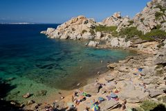 The Bay of Cala Spinosa in Sardinia Stock Images