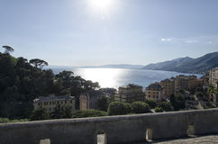 The bay of Camogli from a terrace Stock Image