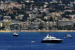 Bay of Cannes in France. Famous bay of Cannes in France with the buildings Royalty Free Stock Images