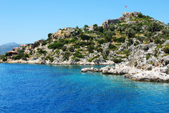 The bay and castle in Kekova Royalty Free Stock Images