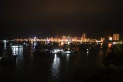the Bay Cat Ba, Hai Phong City, Vietnam, at night royalty free stock image
