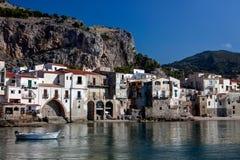 Bay, Cefalu, Sicily, Italy stock photos