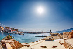 Bay of Chania. With lighthouse at sunny summer day, Crete, Greece Royalty Free Stock Images