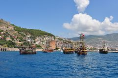 The bay of the city of Alanya. The Red Tower stock photo