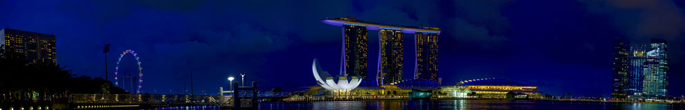Bay City marinapanorama singapore Royaltyfria Bilder