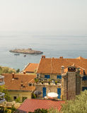 In the bay of city Saint Stephen in Montenegro stock photo