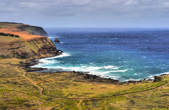 Bay and Cliffs on Rapa Nui royalty free stock images