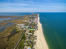 Bay coastline in Odessa region, Ukraine. View on Bay coastline in Odessa region, Ukraine, aerial photo royalty free stock image