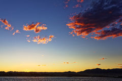 Bay of Coffs Harbour by colorful sunset sky Stock Photos