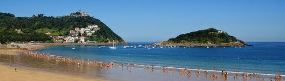 Bay of Concha beach in San Sebastian Royalty Free Stock Images