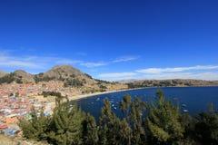 Bay in Copacabana Bolivia, lake Titicaca royalty free stock photo