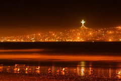 Bay of Coquimbo, Chile by Night Royalty Free Stock Photos