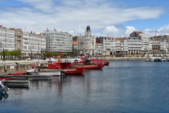 Bay at A Coruna,Spain royalty free stock photos