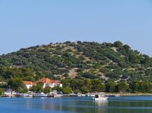 The bay of the Croatian village Betina Royalty Free Stock Image