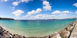 Bay of Crozon peninsula with blue and cloudy sky Stock Photos
