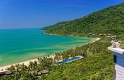 Bay in Da Nang Vietnam. A panoramic view of a bay with a sandy beach in Da Nang, Vietnam stock photo