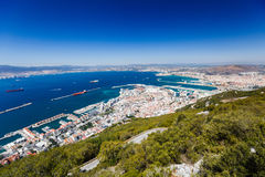 bay and docks from the rock of Gibraltar royalty free stock image