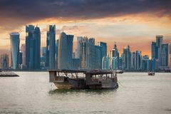 The bay of Doha, Qatar stock photo