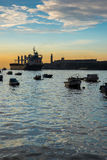 Bay with El Morro castle in Havana, Cuba. At sunset Stock Photo